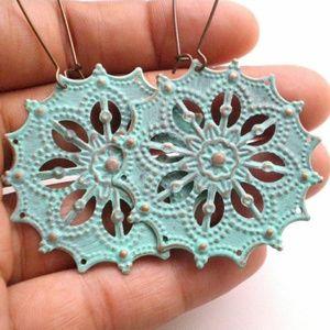 Jewelry - Verdigris Hand Painted Gypsy Star Bohemian Earring